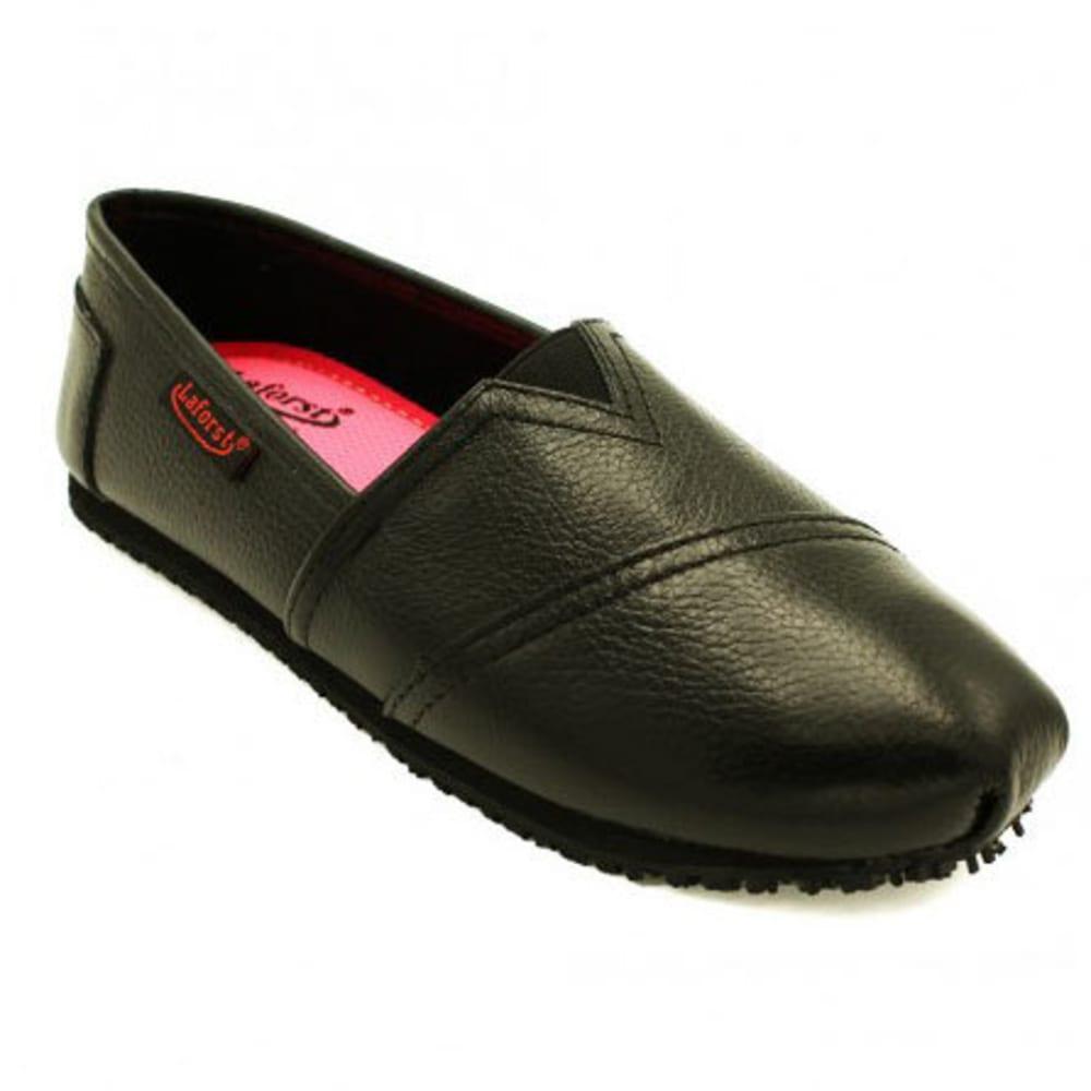 LAFORST Women's Jess Leather Slip-On Slip-Resistant Shoes, Black 6.5