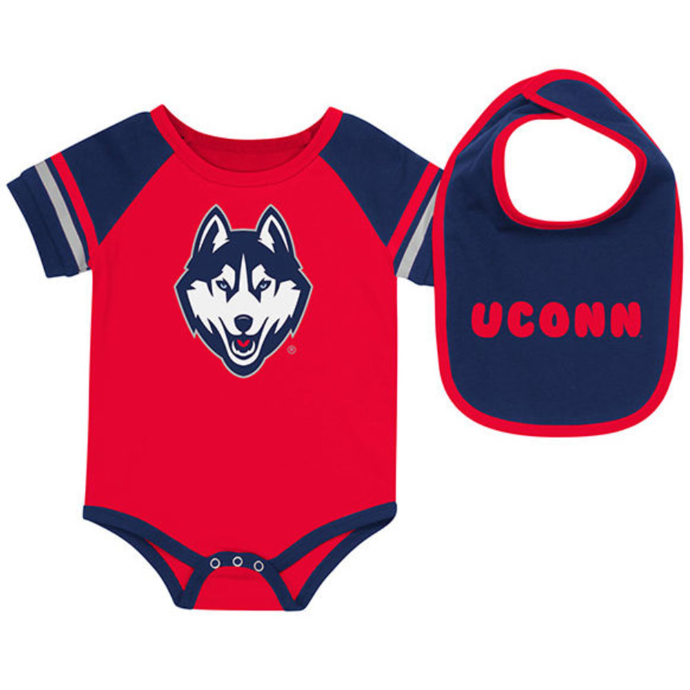 UCONN Infant Boys' Roll Out Onesie and Bib Set - RED/NAVY