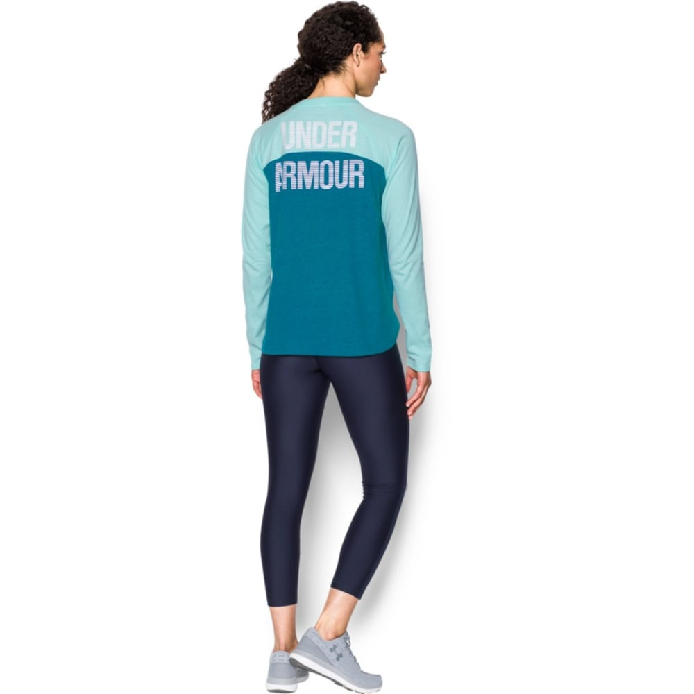 UNDER ARMOUR Women's UA Charged Cotton Tri-Blend Graphic Shirt - BAYOU BLUE-943