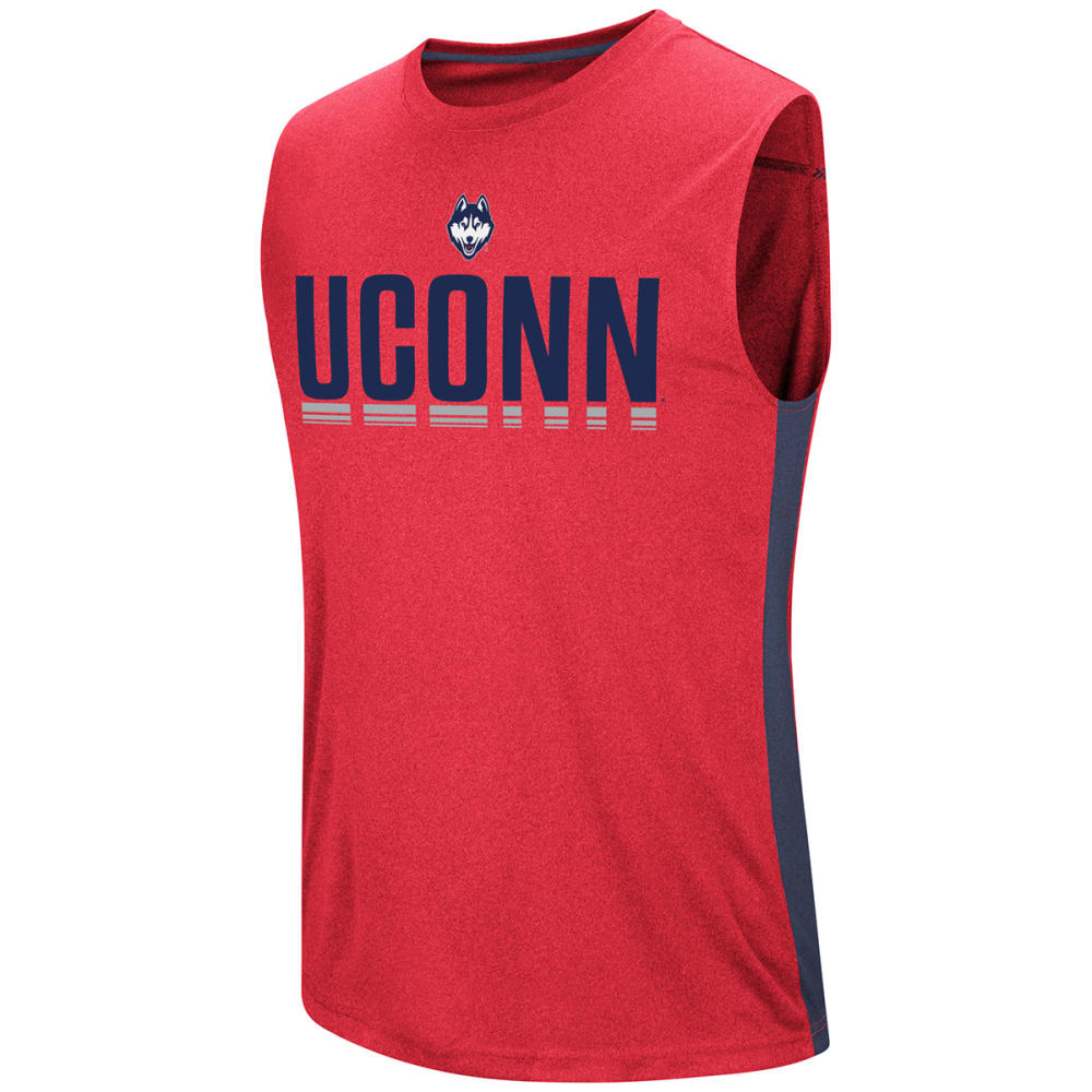 UCONN Men's Hanging Curveball Poly Muscle Tee - HEATHER NAVY