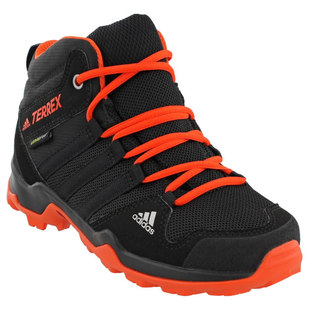 ADIDAS Kids' AX2R Mid Hiking Shoes, Core Black/Core Black/Energy - BLACK/BLACK/ENERGY