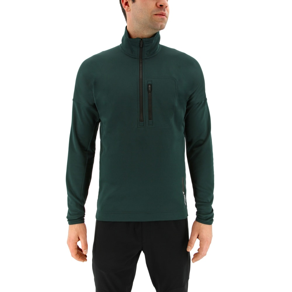 ADIDAS Men's Terrex Tivid Half Zip Fleece Jacket - GREEN NIGHT
