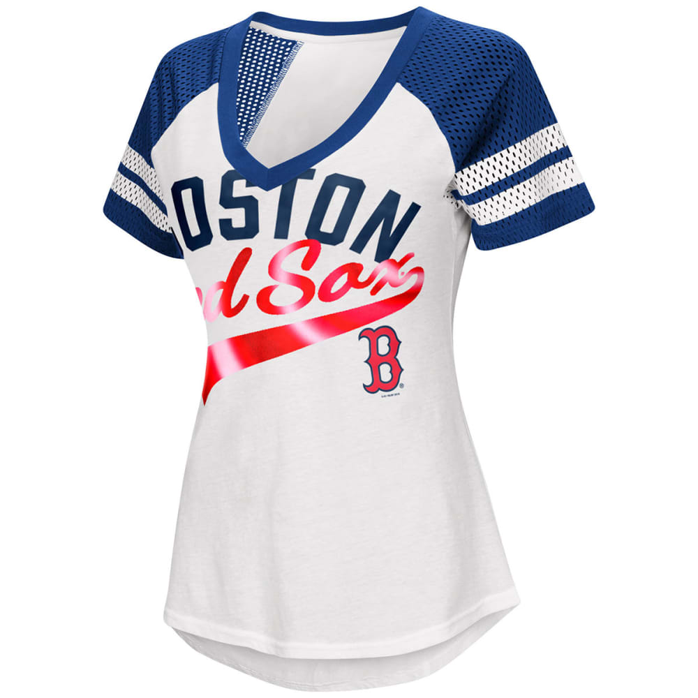 BOSTON RED SOX Women's Double Play V-Neck Short-Sleeve Tee - WHITE