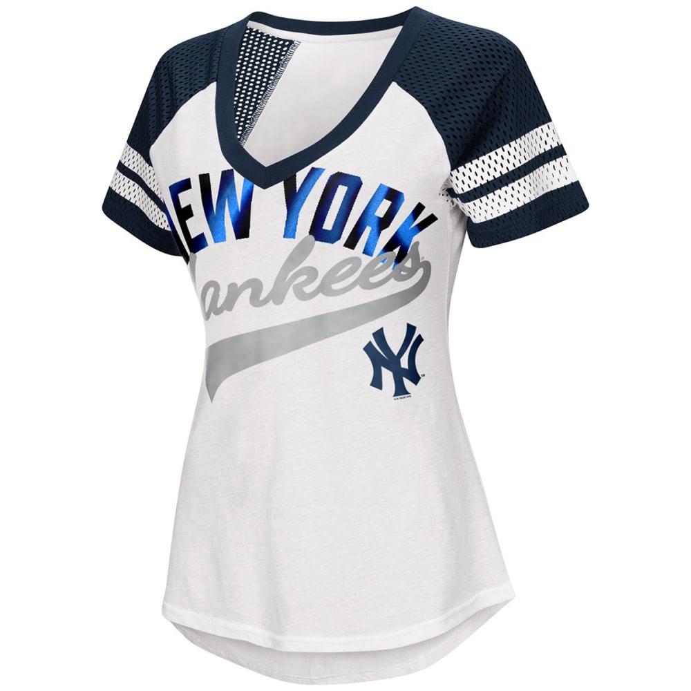 NEW YORK YANKEES Women's Double Play V-Neck Short-Sleeve Tee - WHITE