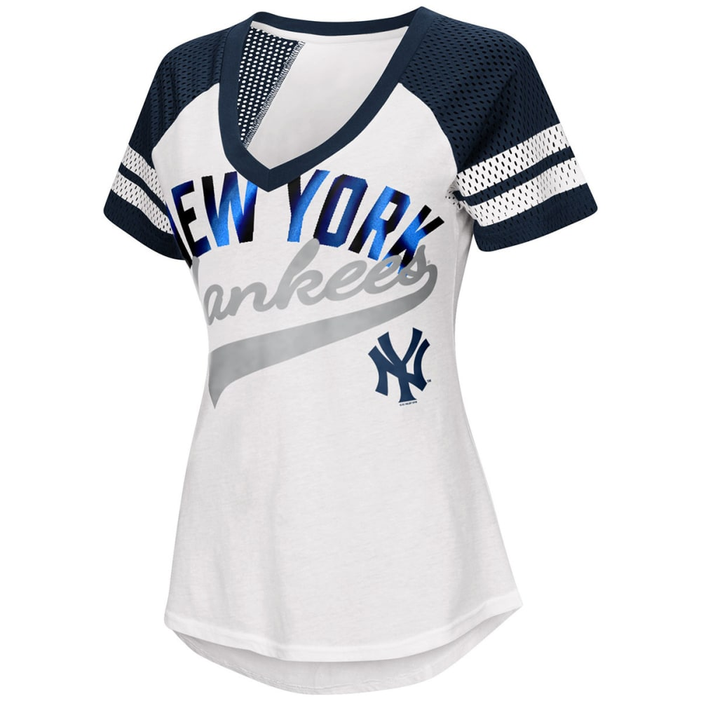 NEW YORK YANKEES Women's Double Play V-Neck Short-Sleeve Tee S
