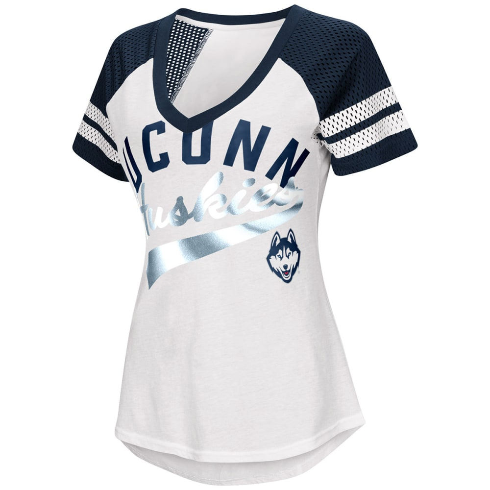 UCONN Women's Double Play V-Neck Short-Sleeve Tee - WHITE