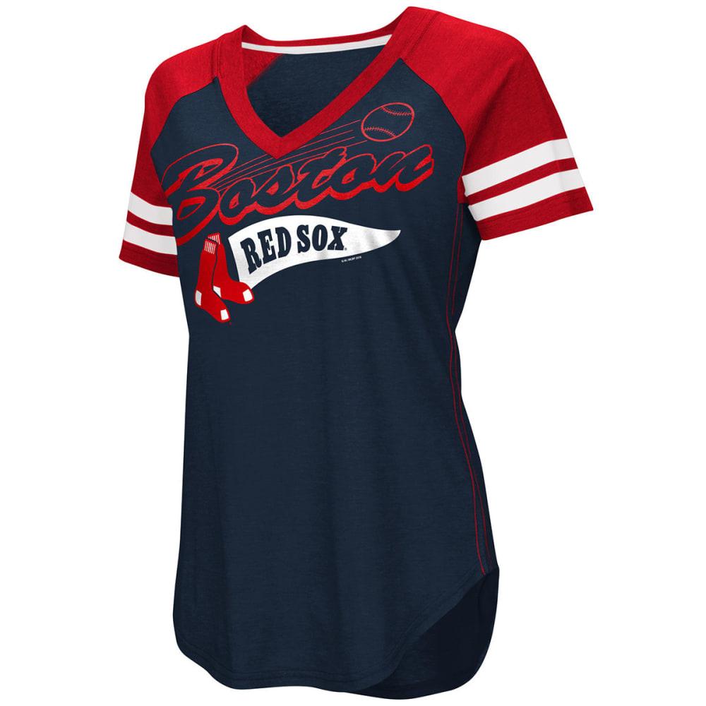 BOSTON RED SOX Women's Bases Loaded V-Neck Short-Sleeve Tee - RED