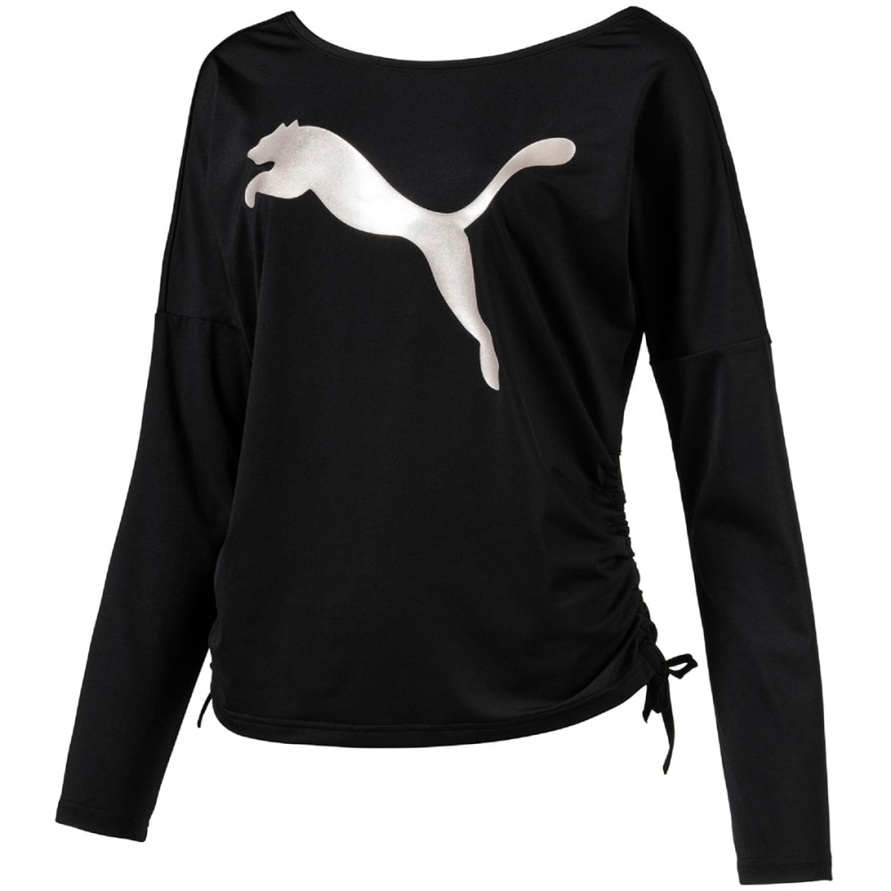 Puma Women's Transition Light Long-Sleeve Cover-Up Top - Black, S