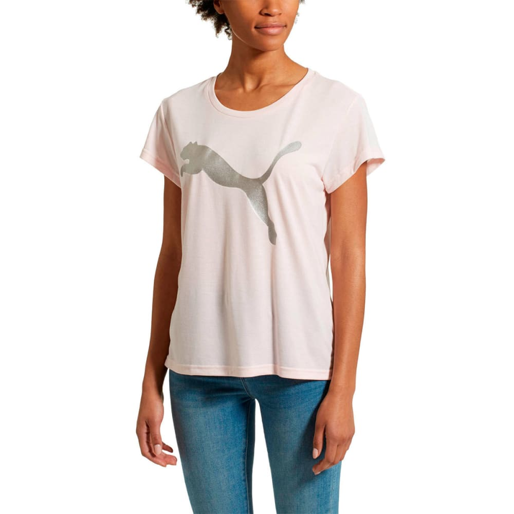 PUMA Women's Urban Sports Logo Short-Sleeve Tee - PEARL/SILVER-37