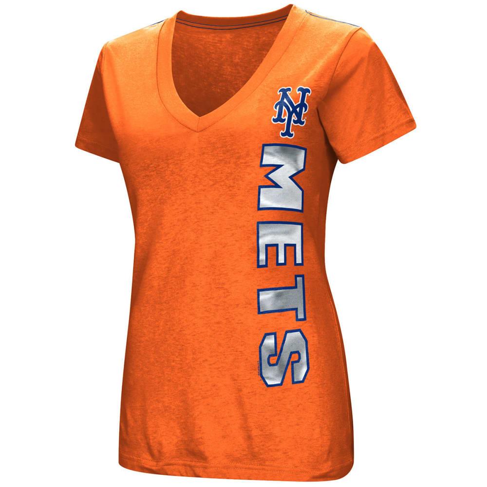NEW YORK METS Women's Asterisk Foil V-Neck Short-Sleeve Tee - ORANGE