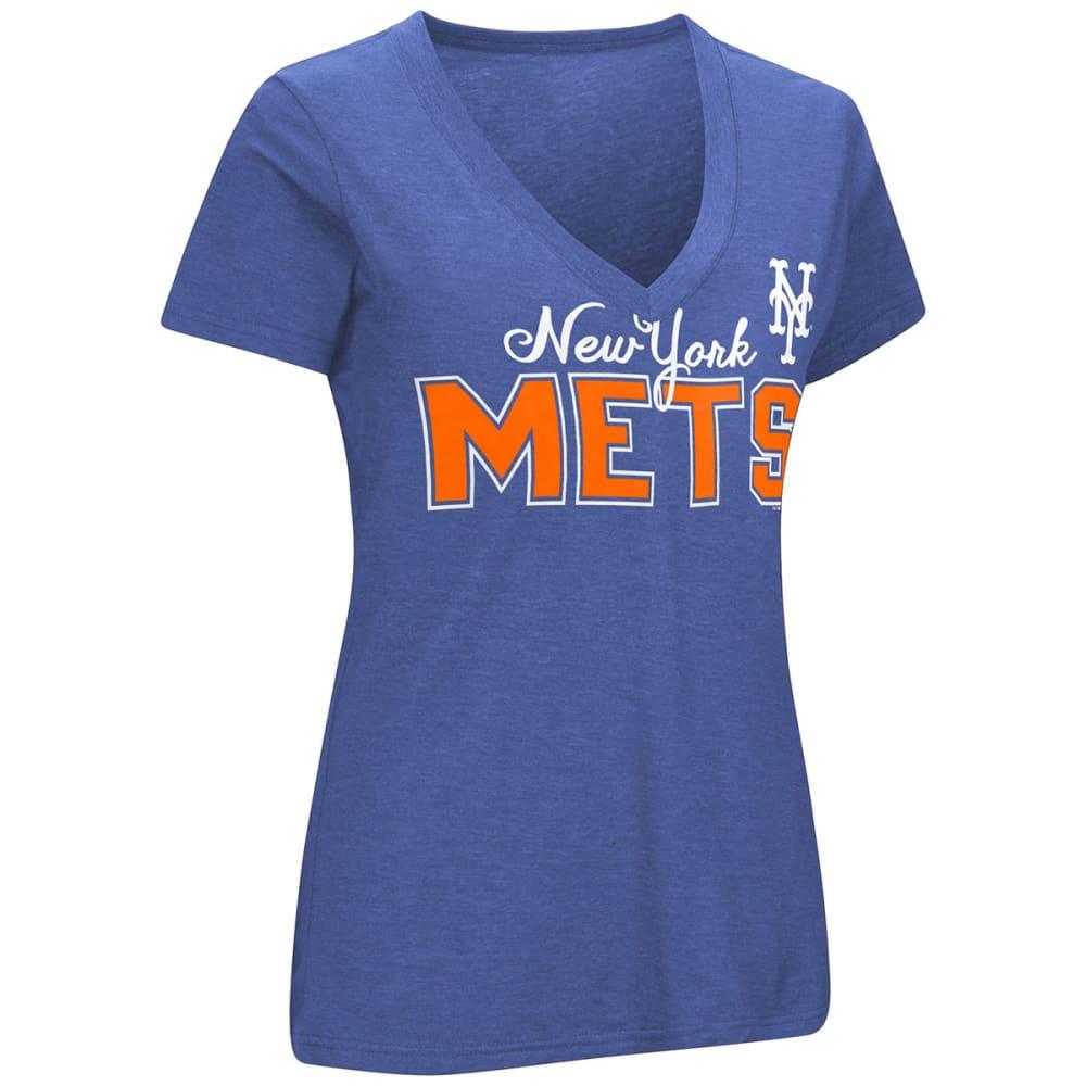 NEW YORK METS Women's Home Run V-Neck Short-Sleeve Tee - ROYAL BLUE
