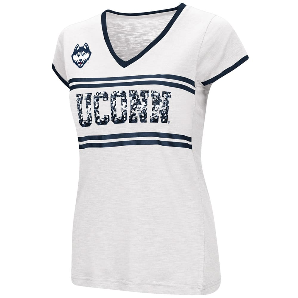 UCONN Women's Blow Out Sequin V-Neck Short-Sleeve Tee - WHITE/NAVY