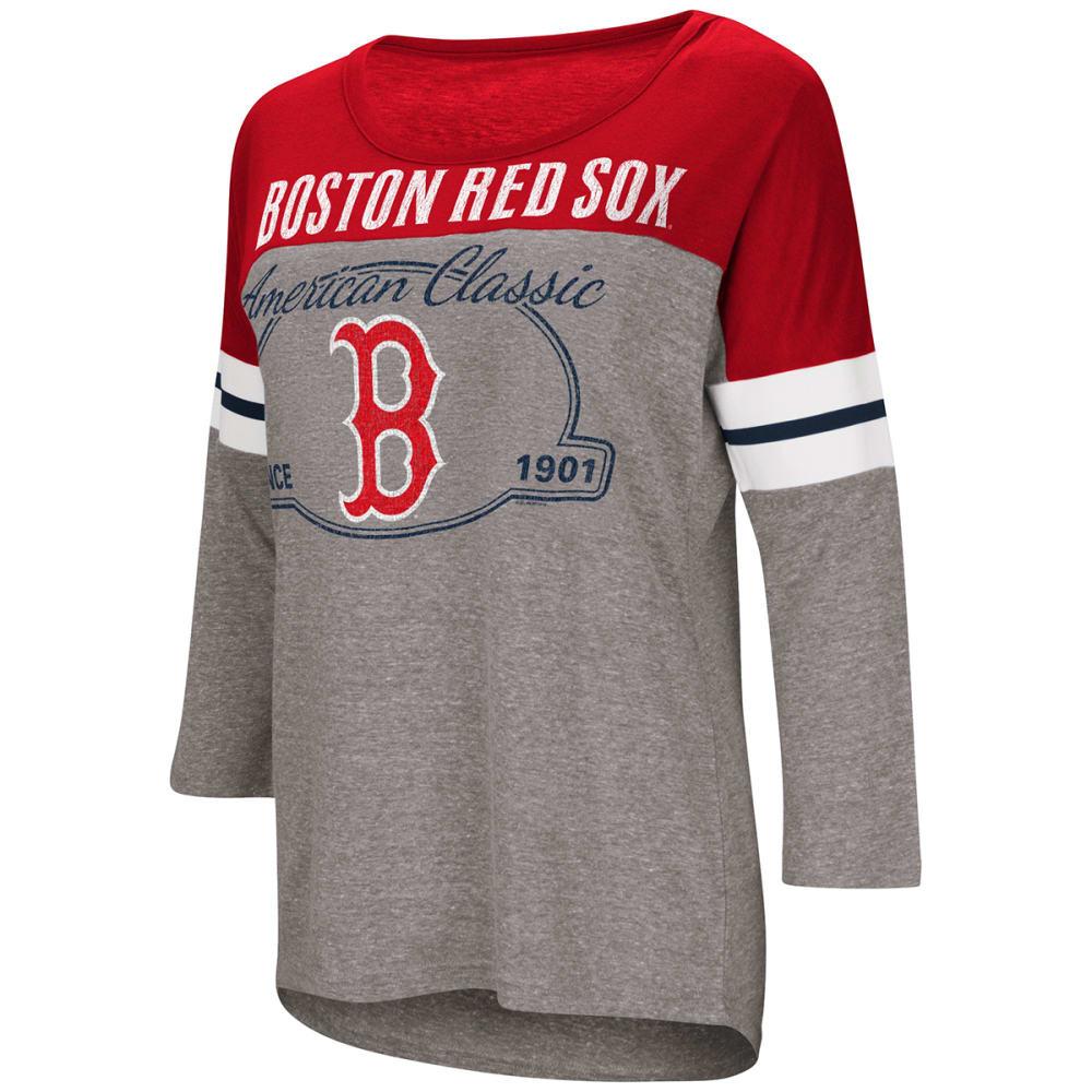 BOSTON RED SOX Women's Scrimmage Ã'¾-Sleeve Tee - HEATHER GREY