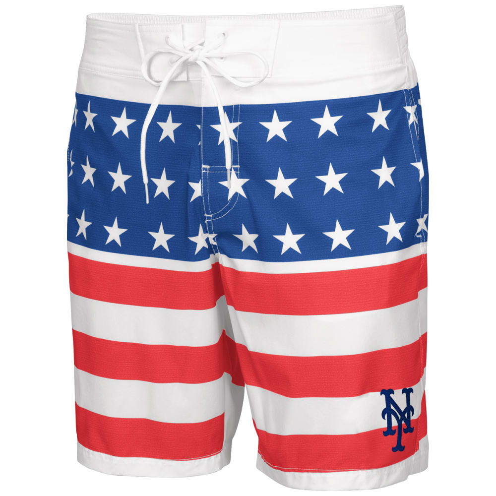 NEW YORK METS Men's Patriotic Swim Trunks - RED WHITE BLUE
