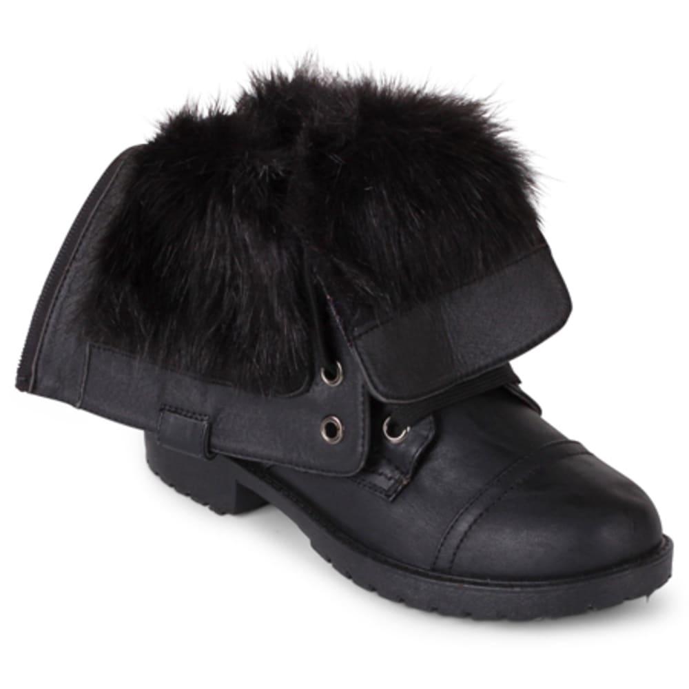 WANTED Women's Crestone Fold-Over Combat Boots, Black/Black Fur - BLACK