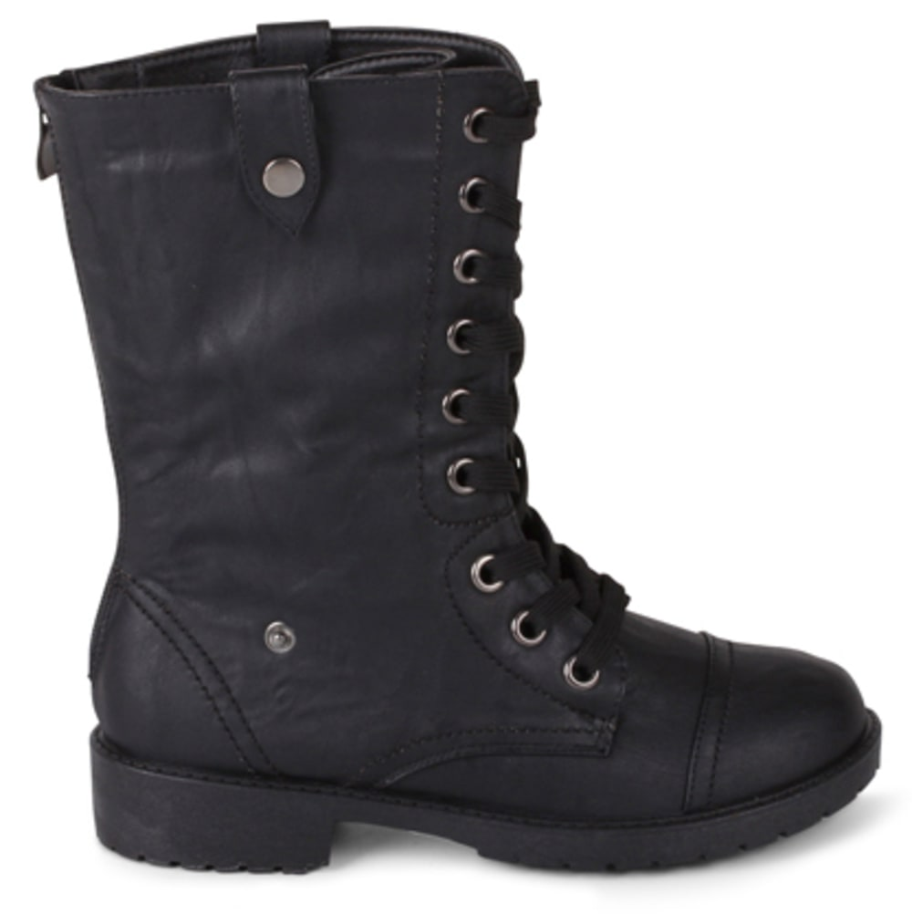 WANTED Women's Crestone Fold-Over Combat Boots, Black/Black Fur - BLACK