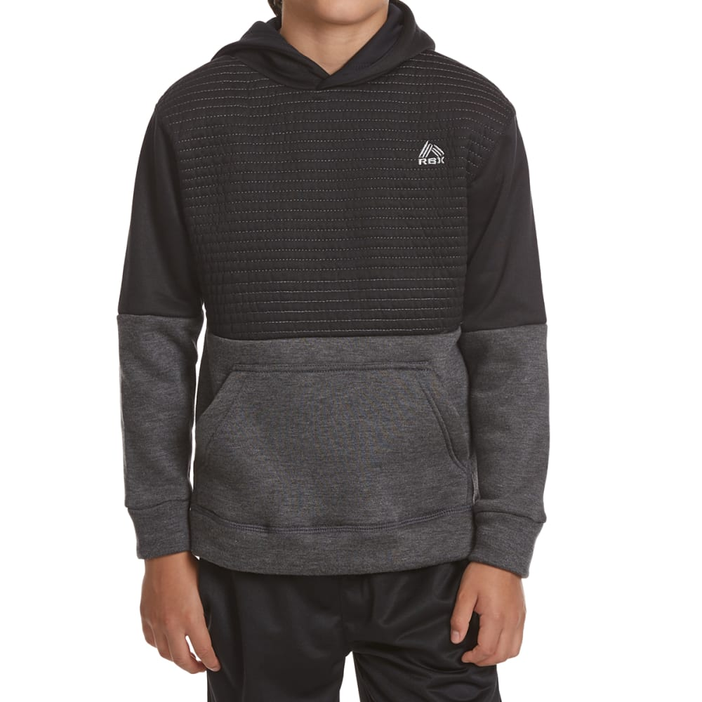 RBX Boys' Color Block Active Hoodie - CHARCOAL HTR
