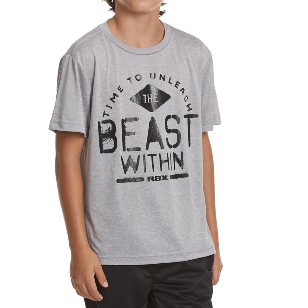 RBX Boys' The Beast Within Active Short-Sleeve Tee - GREY HEATHER