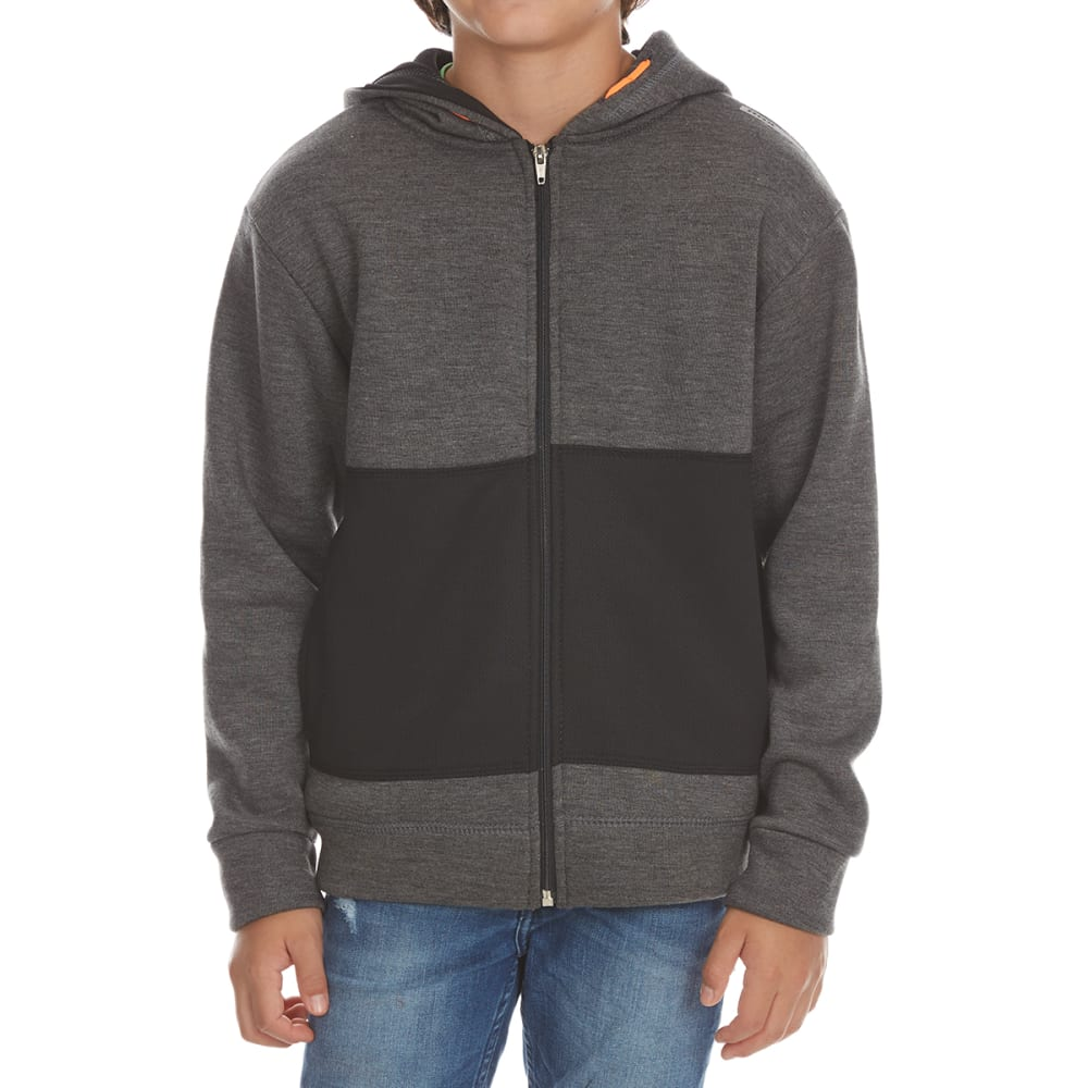 RBX Boys' Active Fleece Full-Zip Hoodie - CHARCOAL HEATHER