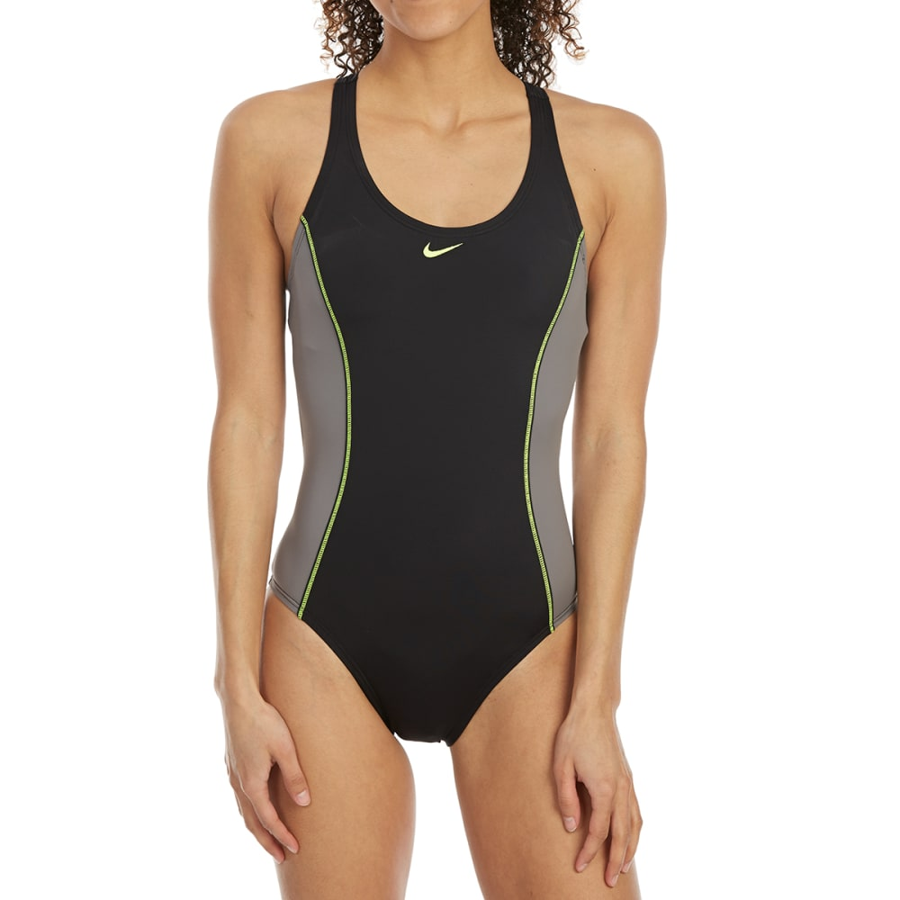 NIKE Women's Power Back Color-Block One-Piece Swimsuit - 001-BLACK