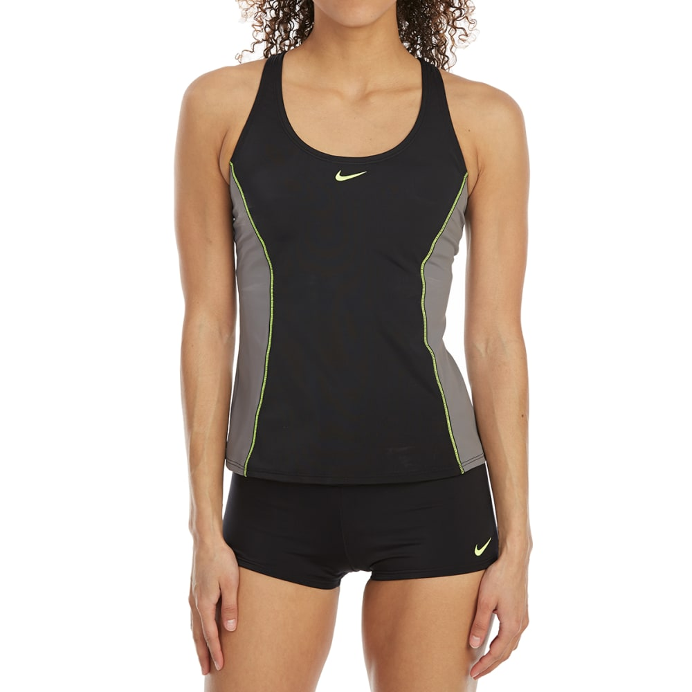 NIKE Women's Power Back Color-Block Tankini Set - 001-BLACK