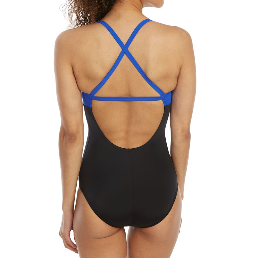 NIKE Women's Crossback Color-Block One-Piece Swimsuit - 001-BLACK