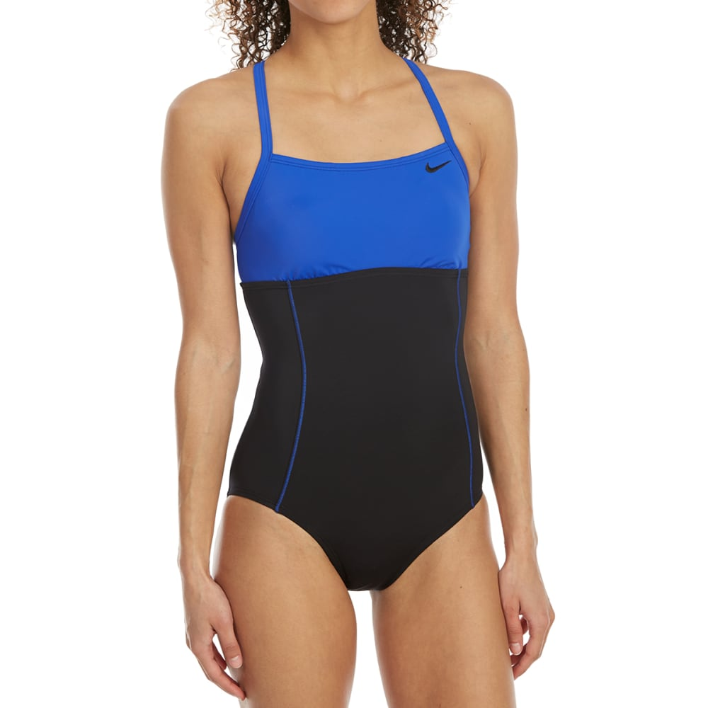 NIKE Women's Crossback Color-Block One-Piece Swimsuit - 001-BLACK