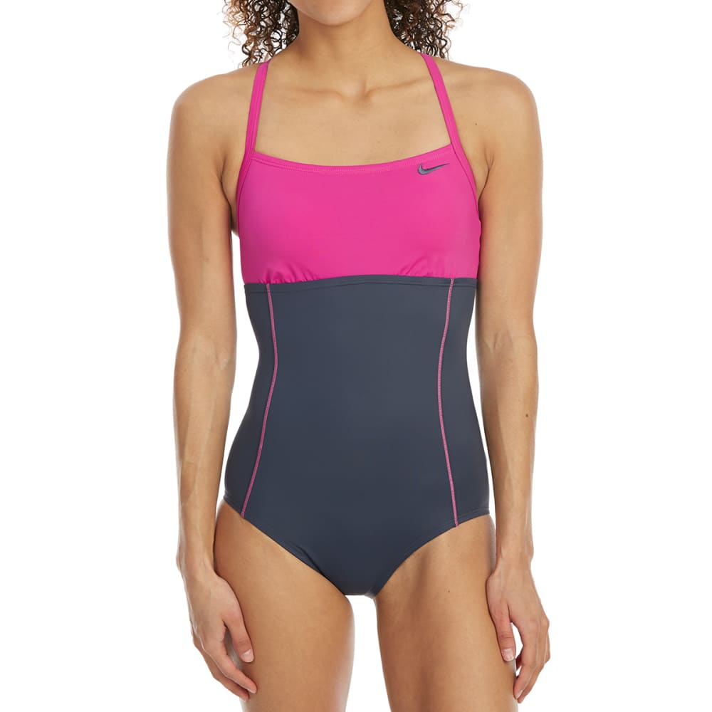 Nike Women's Crossback Color-Block One-Piece Swimsuit - Red, S