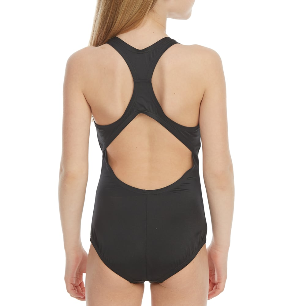 NIKE Big Girls' Solid Racerback Sport One-Piece Swimsuit - 001-BLACK