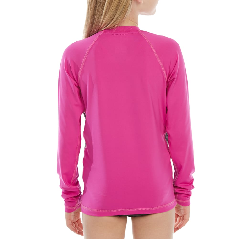 NIKE Big Girls' Rush Heather Hydroguard Long-Sleeve Rash Guard - 001-BLACK