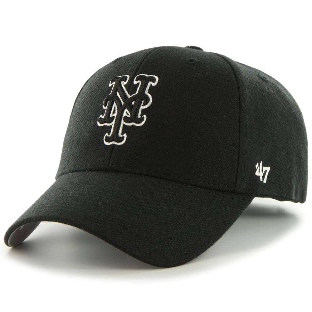 NEW YORK METS Men's Black and White '47 MVP Adjustable Cap - BLACK