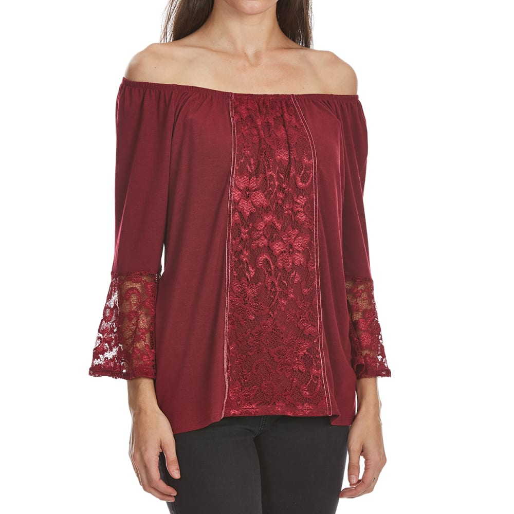 Absolutely Famous Women's Velvet Trim Off-Shoulder Long-Sleeve Top - Red, S