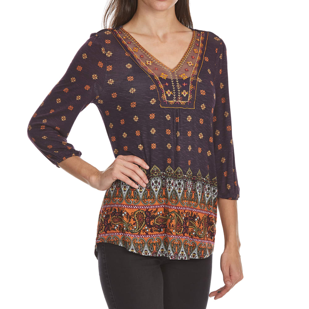 ABSOLUTELY FAMOUS Women's Border Print Mesh Detail Long-Sleeve Top - PLUM MULTI