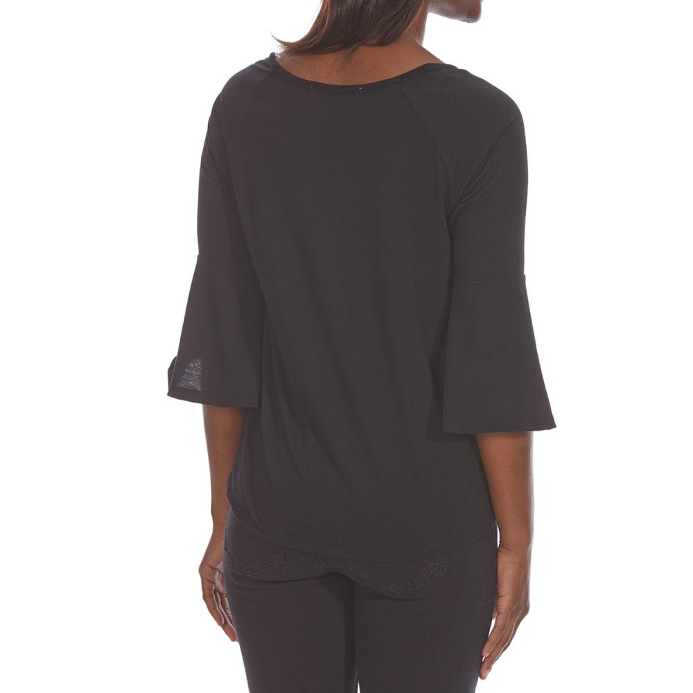 ABSOLUTELY FAMOUS Women's Burnout Velvet Long-Sleeve Top - BLACK