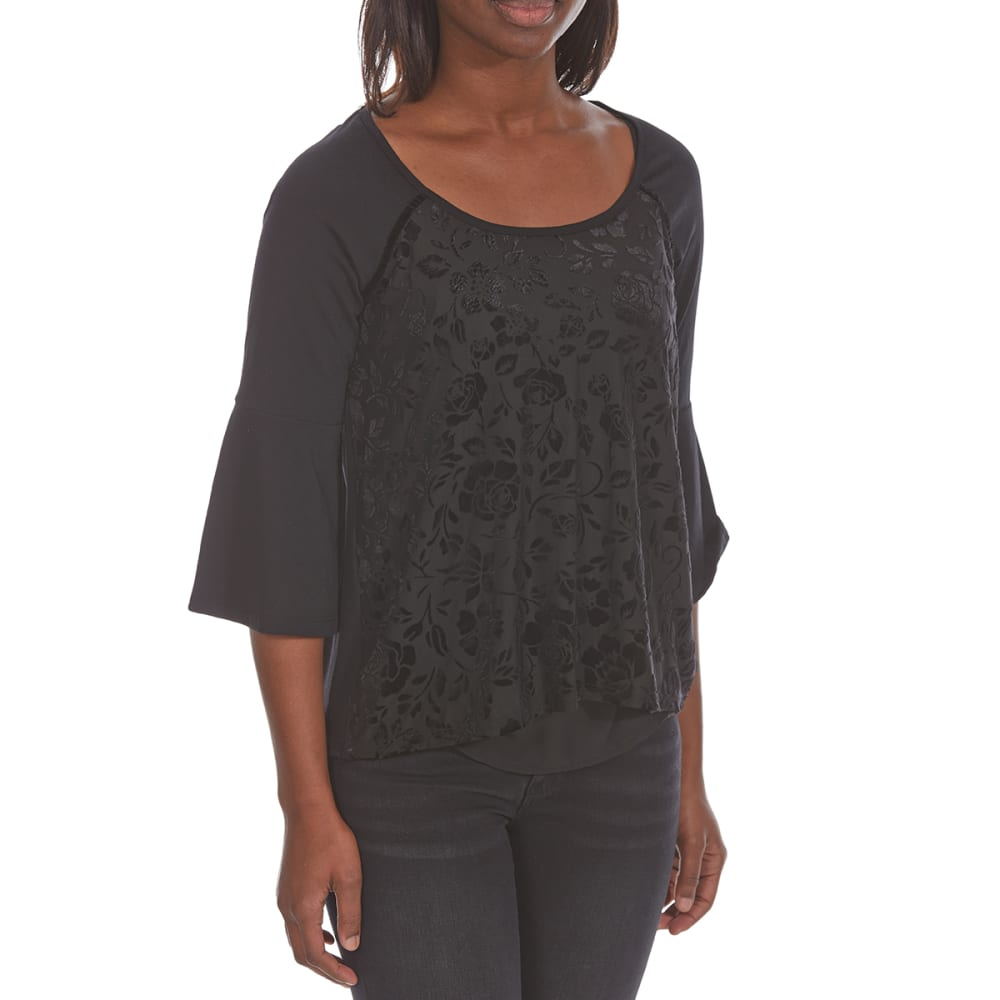 ABSOLUTELY FAMOUS Women's Burnout Velvet Long-Sleeve Top - BLACK