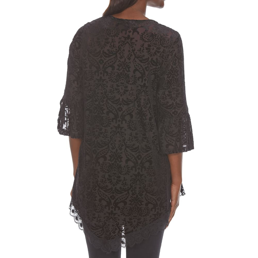 ABSOLUTELY FAMOUS Women's Burnout Velvet Kimono - BLACK