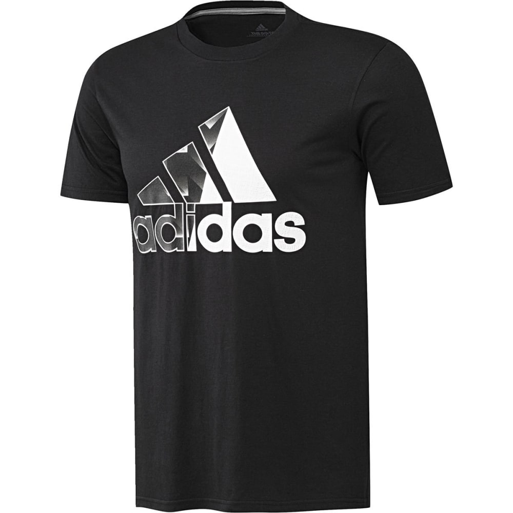 ADIDAS Men's Badge of Sport Split Fill Short-Sleeve Tee - BLACK/WHITE-CF8290