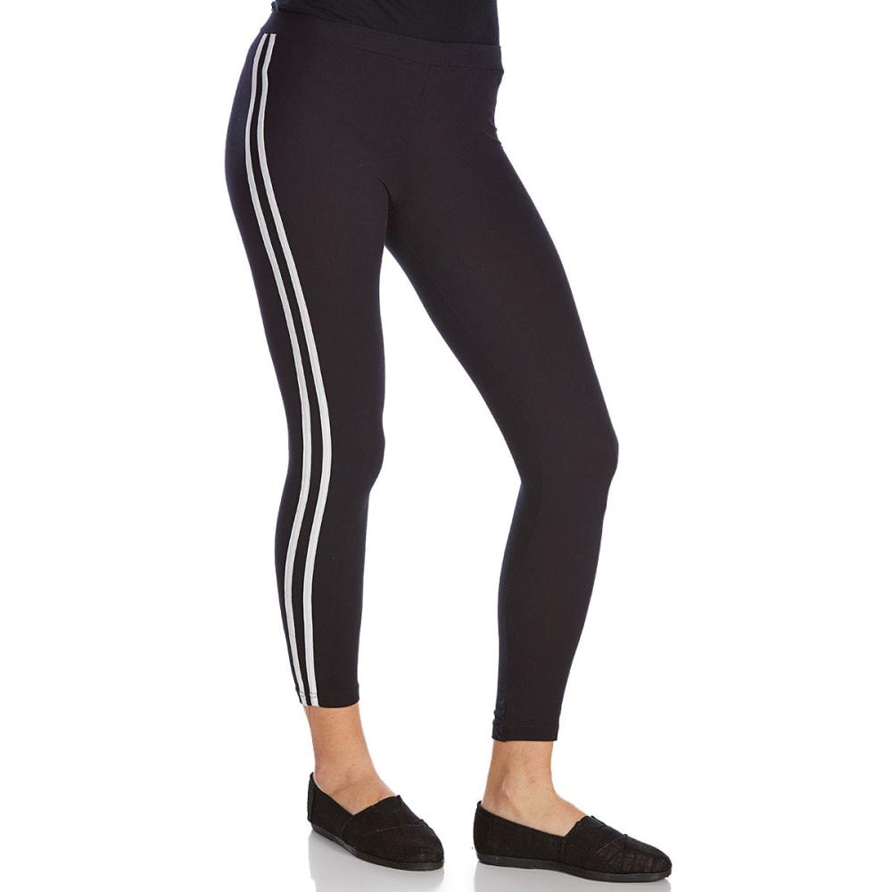 POOF Juniors' Double-Stripe Leggings - BLACK