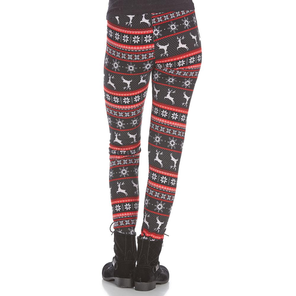 POOF Juniors' Reindeer Snow Fleece-Lined Leggings - BLACK COMBO