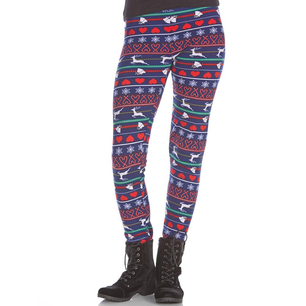 POOF Juniors' Reindeer Hearts Fleece-Lined Leggings - NEW NAVY/ROCKIN RED