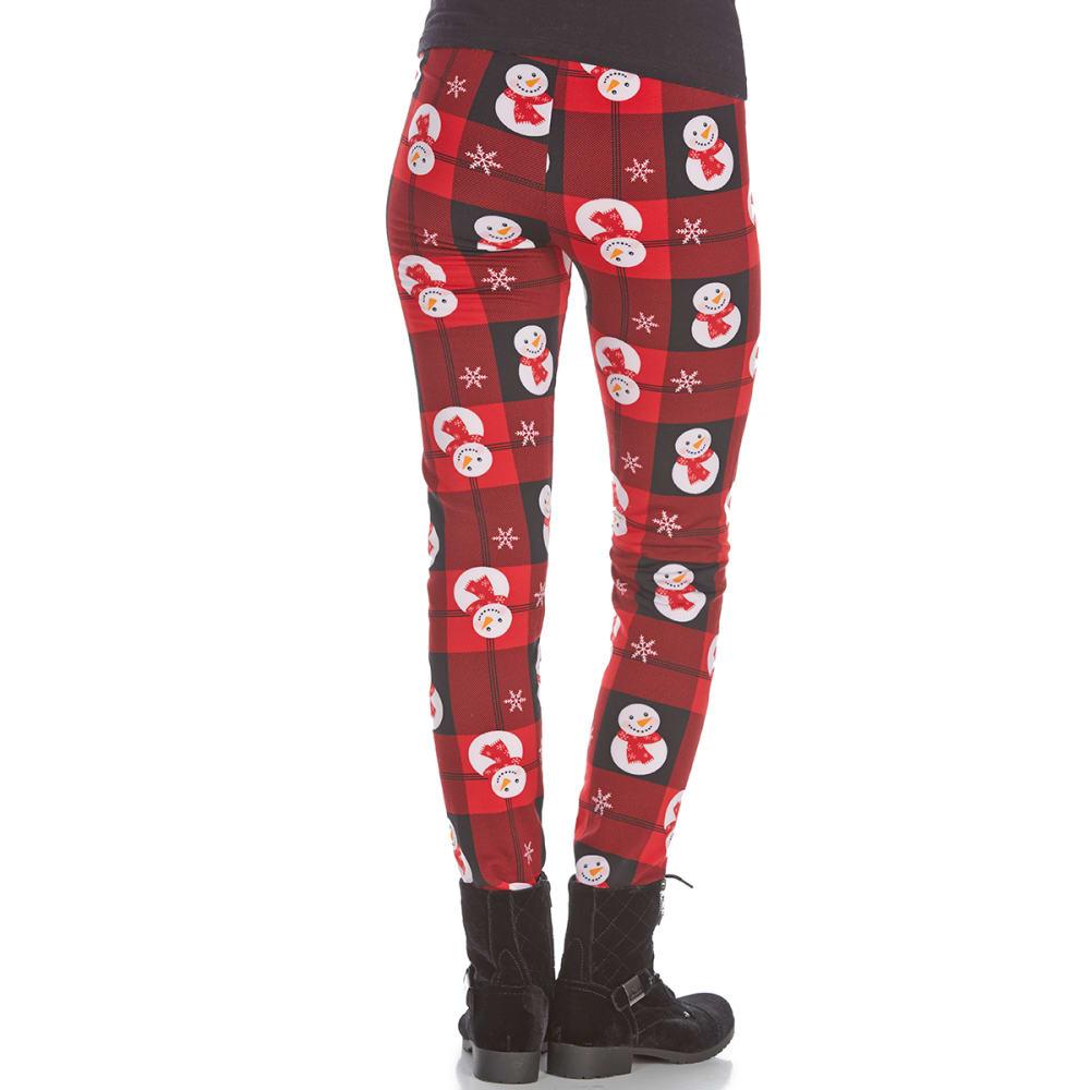 POOF Juniors' Snowmen Flannel Fleece-Lined Leggings - RED COMBO