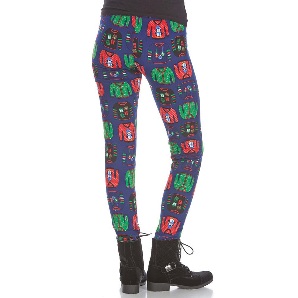 POOF Juniors' Ugly Sweater Fleece-Lined Leggings - NAVY COMBO