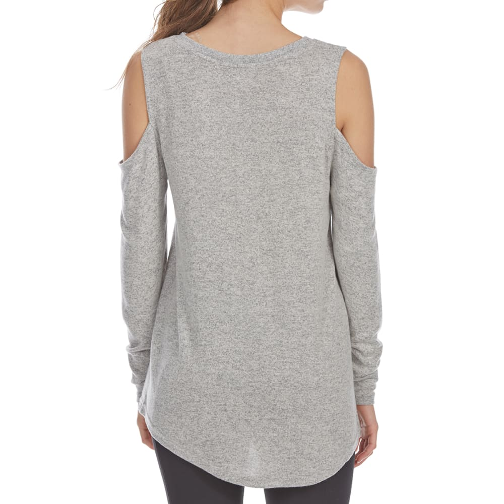 POOF Juniors' No. 1 Elf Cold-Shoulder Long-Sleeve Snit Top - SILVER GREY/IVORY MA