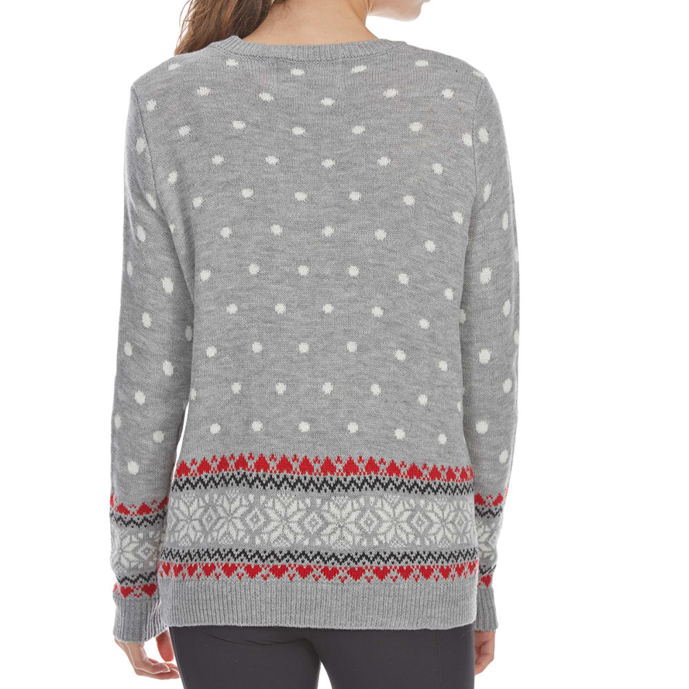 POOF Juniors' Polar Bear Long-Sleeve Christmas Sweater - GREY