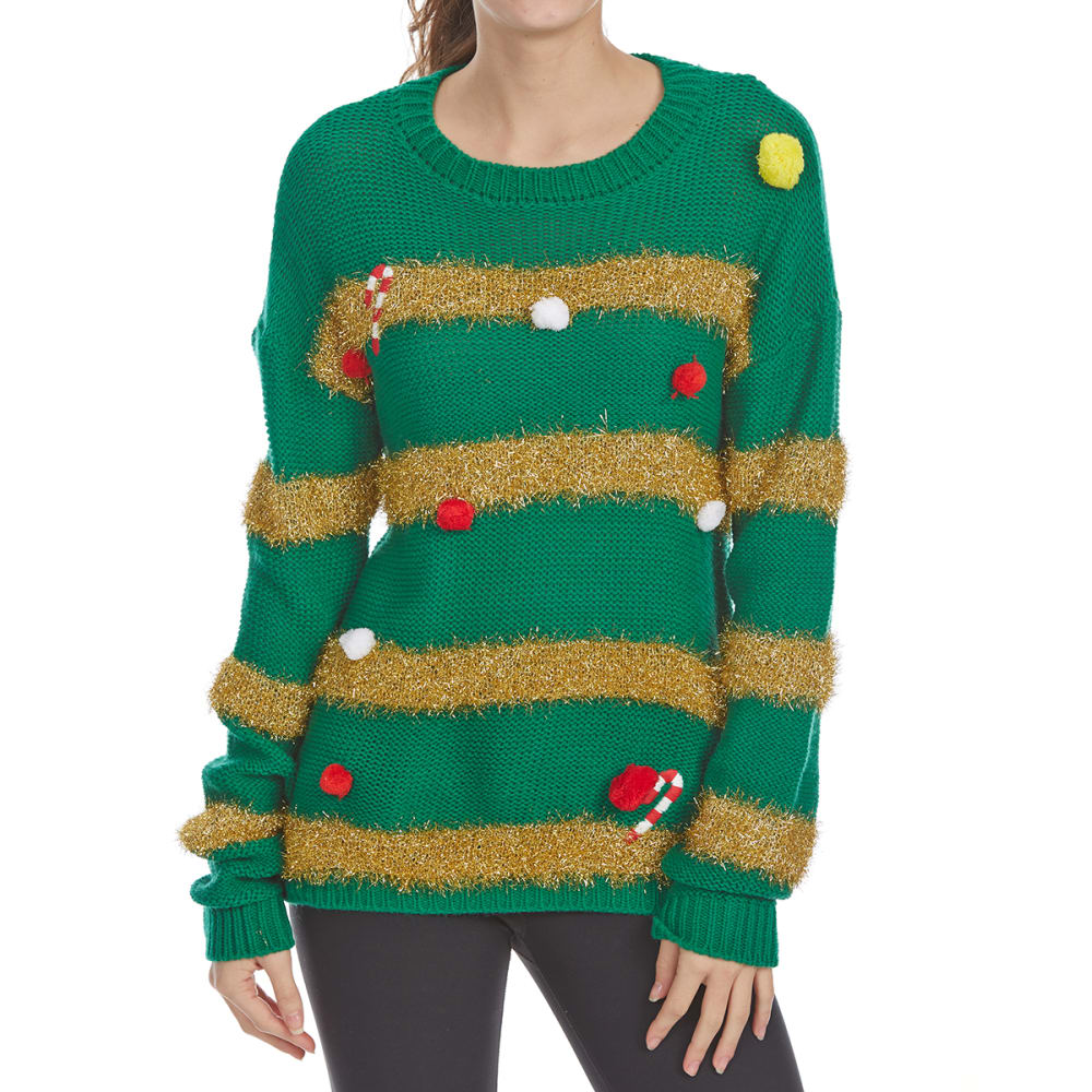 POOF Juniors' Pom-Pom Tinsel Long-Sleeve Christmas Sweater - GREEN