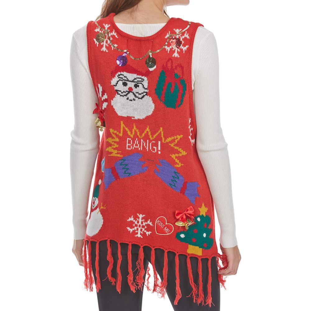POOF Juniors' Tassel Christmas Sweater Vest - RED