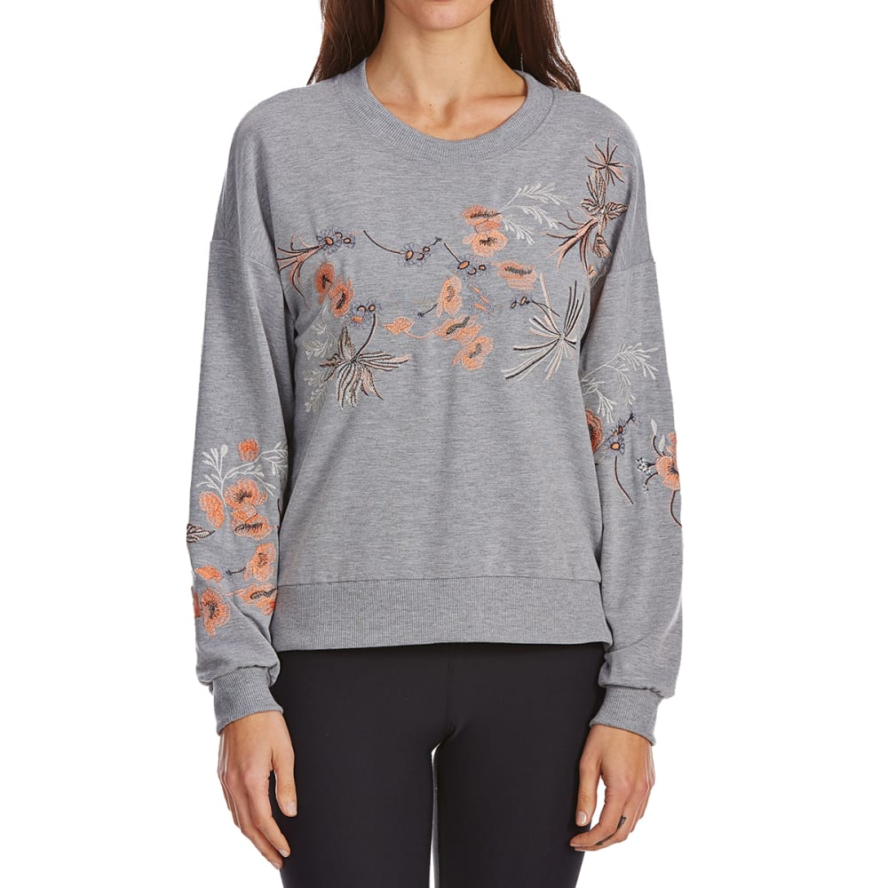 POOF Juniors' French Terry Embroidered Long-Sleeve Pullover - HEATHER GREY