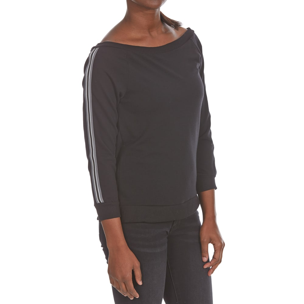 POOF Juniors' Off-Shoulder Athletic Stripe French Terry Pullover - BLACK