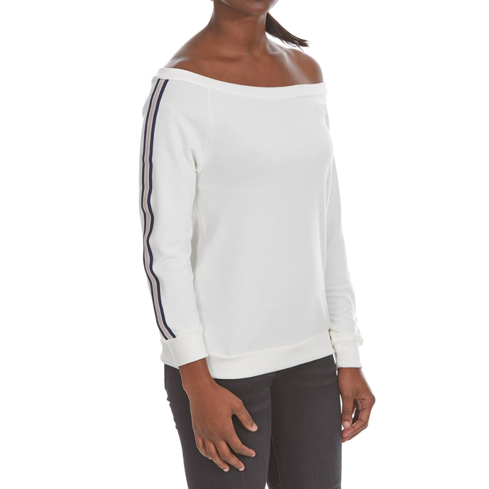 POOF Juniors' Off-Shoulder Athletic Stripe French Terry Pullover S