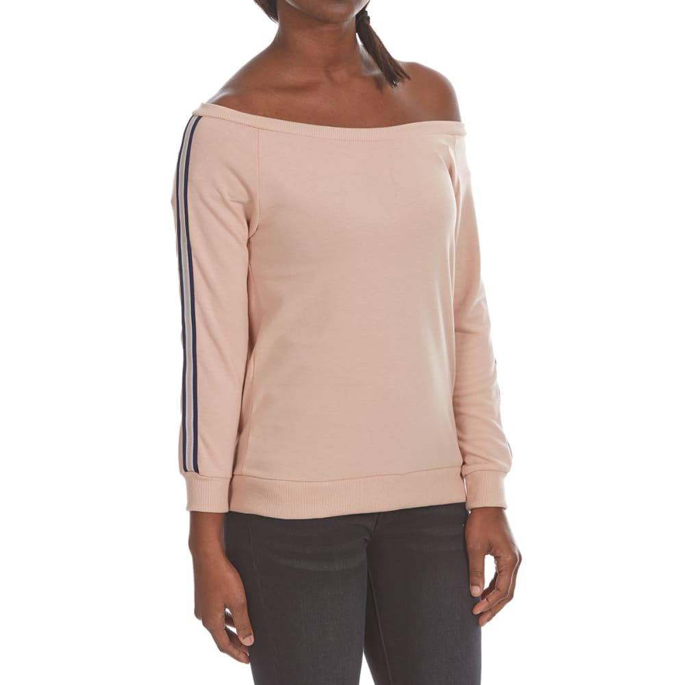 POOF Juniors' Off-Shoulder Athletic Stripe French Terry Pullover - BLOSSUM COMBO